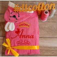 Именной махровый детский халат с Именем (розовый)